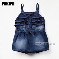 Personalizada marca de ropa de bebé recién nacido Demin niños vestidos de algodón bordado Romper la moda ropa casual