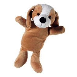 顧客用手パペットはプラシ天犬のおもちゃ手パペットを模造する