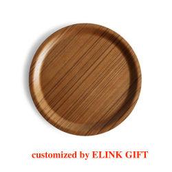 Forma redonda de madera decorativos de madera de acacia Bandeja Bandeja de servicio