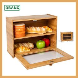 خيزرانيّ خشبيّة خبز صندوق مع يليّن [غلسّ ويندوو] [فوود كنتينر]