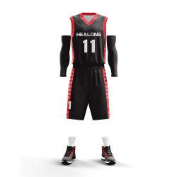 Precio mayorista caliente Logotipo personalizado el baloncesto Jersey negro de Estados Unidos Design Plus Tamaño de desgaste para el equipo de baloncesto