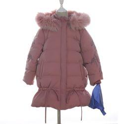 Зимний мех колпачковая Стеганая куртка Outwear уже давно вниз для детей Детский одежда износа
