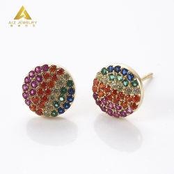 Commerce de gros de bijoux personnalisés 925 Sterling Silver Earrings Bijoux plaqué Or jaune avec imitation Multi-Color Sapphire