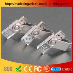 Personalizados de alta qualidade 3D Cristal logotipo USB com memória flash de luz LED Pen Drive