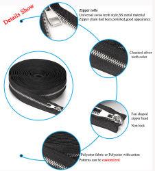 L'usine OEM dents métalliques Close-End Open-End Swiss dents rouleau métallique en acier inoxydable longs fermeture à glissière de la chaîne