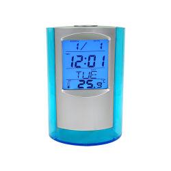De multifunctionele LCD Digitale Plastic Houder van de Pen van de Lijst van de Wekker van de Kalender