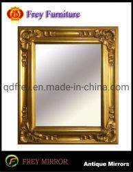 Marco espejo de pared de madera ornamentados Terminado brillante Golden