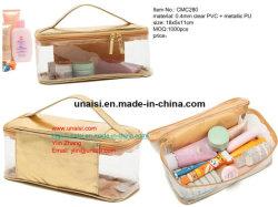 L'articolo da toeletta trasparente del PVC della radura trasporta la cassa di viaggio di trucco del sacchetto