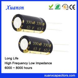 Горячая продажа 330 ОФ 63 V радиального конденсатор с длительным сроком службы электролитические конденсаторы