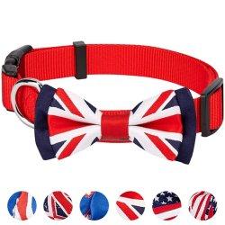 UK /bandera británica W/tejido tejido Jacquard Pajarita Collar de perro desmontable.