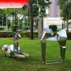 Resumen La escultura de ciervos de acero inoxidable para la decoración de jardín