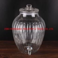 10L円形の明確で大きいボリューム蛇口が付いているガラス飲み物のフルーツディスペンサー
