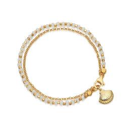 Alta Qualidade jóias de ouro bracelete cordão verde com a Shell