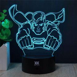 Commerce de gros 3D colorée de Superman Chambre d'enfants LED Lampe tactile de table