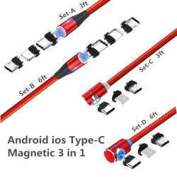 Agnetic Handy-aufladenkabel, Android, IOS, Typ-c magnetische Verbindung 3 in 1 (3/6 FT gerades Kabel, 3/6 FT L Form-Kabel) Rot