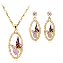 Mayorista de regalo de promoción 2018 de diseño superior de la mujer Accesorios de moda de Joyería de pendientes de boda Moda Mujer Conjunto de joyas de oro