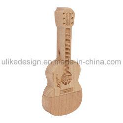 Formato de guitarra disco flash USB com formato de guitarra de madeira