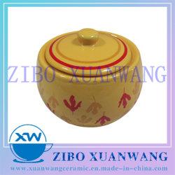 De hete Pot van de Suiker van de Vorm van de Druk van de Verkoop Gele Verglaasde Rode Creatieve Ceramische voor Dagelijks Gebruik