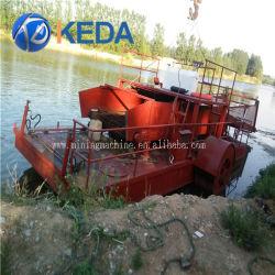 moteur diesel powered récolteuse de mauvaises herbes aquatiques entièrement automatique