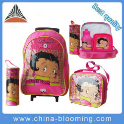 La pantalla de dibujos animados de supermercados hombro funcional diseño de las niñas con ruedas de rodadura de niños estudiante lápiz bolígrafo Trolley caso Bolsa de almuerzo Enfriador de bolsas de vuelta a la escuela
