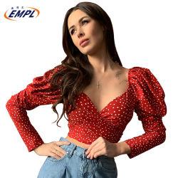 2020 Les nouveaux arrivants Printemps Chaud long manches de bouffée de vente Bolka Twist-Front Red Dot femmes Mesdames chemisier en mousseline Tops de récolte