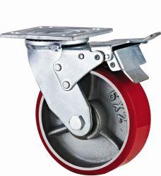 Тип для тяжелого режима работы нового двойного педаль тормоза чугунные PU самоустанавливающееся колесо (KHX3-H6-A)