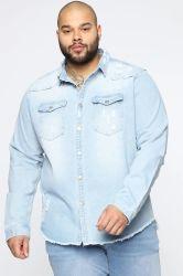 Venda por grosso de vestuário vestuário de denim dos homens camisas de denim Pac Ami Plus Size Camisas