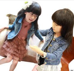 Jaqueta de jeans de moda da menina, jaqueta de renda da menina, Kids Jean Jacket azul