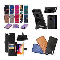 Ranura para tarjeta Monedero de cuero de PU para teléfono móvil iPhone X 8 8 más 7 6 Estuche rígido Samsung