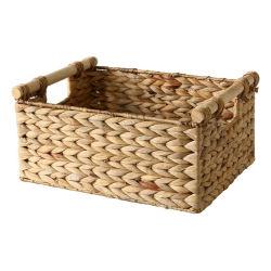 Grande cestino tessuto naturale del giacinto di acqua con la maniglia di legno
