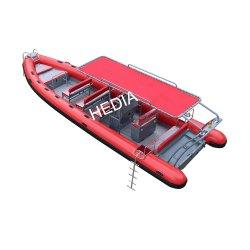 Super profunda V bote de aluminio de patrulla de la potencia de botes inflables rígido Rib 830 con tanque de buceo Buceo