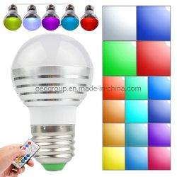 Estojo de alumínio E27 GU10 E14 B22 3W Controle Remoto LED RGBW Globo