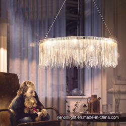 Серебристый железные цепи люстра европейского современных висящих ламп освещения пульта управления