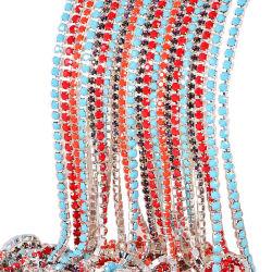 سلاسل وحيد القرن ملونة Ss12 3 مم قاعدة فضية كريستال AB حجر الراين سلسلة كأس لثوب الزفاف