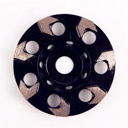 5 pouces d125mm Diamond meulage Cup Disque de roue avec sept segments de flèche tampons de polissage de diamants pour béton et plancher de terrazzo