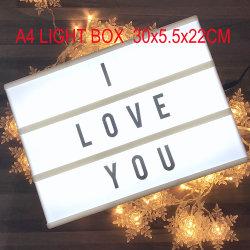 Combinaison de bricolage Boîte à lumière de nuit à LED lampe de table de nuit A3 A4 A5 Lettre cartes LED lampe veilleuse Cinema Lightbox