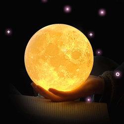 달 램프 DC5V 3D 인쇄 달 밤 램프 접촉 통제 광도 (Yellow+White) 달빛 창조적인 선물