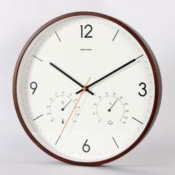 온도계와 하이그로미터가 있는 원목 벽걸이 원형 장식용 시계입니다