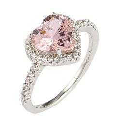 Мода 925 Серебряное кольцо большого размера Moganite камня в форме сердечка Роскошные ювелирные изделия