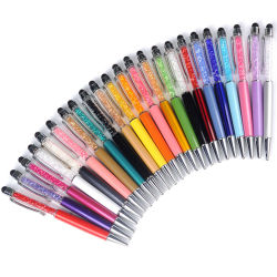 23 de cristal Color Bolígrafo piloto creativo lápiz táctil Stylus para escribir artículos de papelería de oficina y de la Escuela de tinta de bolígrafo lápiz negro azul