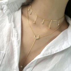 حارّ يبيع عالة [مينيمليست] مجوهرات نجم قمر زركون مدلّاة سلسلة عقد 925 [سترلينغ سلفر] خانق عقد لأنّ سيادات