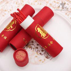 El tubo redondo de color rojo 12 palos el embalaje de regalo de boda logotipo lámina caliente fósforos de madera