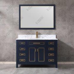 Nuevo diseño con incrustaciones en madera maciza de metal moderno cuarto de baño vanidad