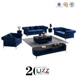 最新のイタリアの現代デザイン余暇のビロードの/Linenファブリック居間の部門別のラウンジのソファ1+2+3の家具セット
