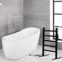 Portasciugamani riscaldato rack per asciugamano elettrico in lega di alluminio nero Stile pavimento