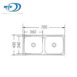 抑えるパッドおよびクリップ全体寸法780*430mmの台所用品の家具OEMの&ODMのステンレス鋼の台所の流し
