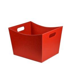 Venda por grosso de alta qualidade de couro vermelho cesto de roupa suja pega cesto de armazenamento de caixa de oferta