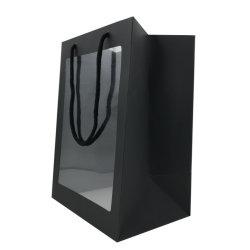 맞춤형 디자인 작은 크기 투명 창문 종이 선물 가방 포함 로고