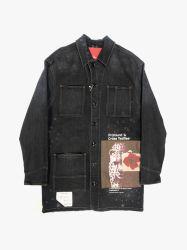 Черный цвет Spray промойте цифровая печать мужские джинсовые куртки