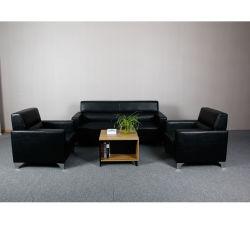 Couro de mobiliário de escritório 3 único seaters Lounge modular Sofá Definir Sofá